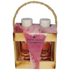 Ξύλινο σετ Δώρου Ενυδατική Λοσιόν & Αφρόλουτρο με άρωμα ρόδι, καρύδα